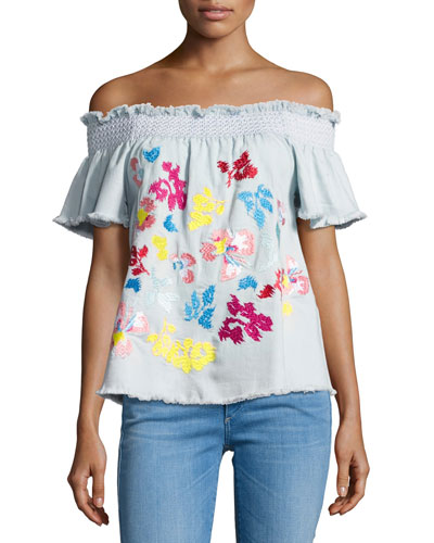 Carmen Embroidered Denim Top, Blue