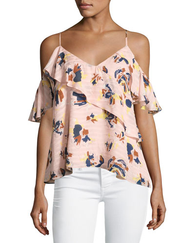 Chiara Cold-Shoulder Textured Silk Abstract Floral Top, Pink
