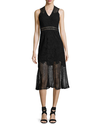Multimedia Lace Trumpet Midi Dress, Black