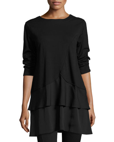 Interlock Tunic w/ Tiered Hem, Black
