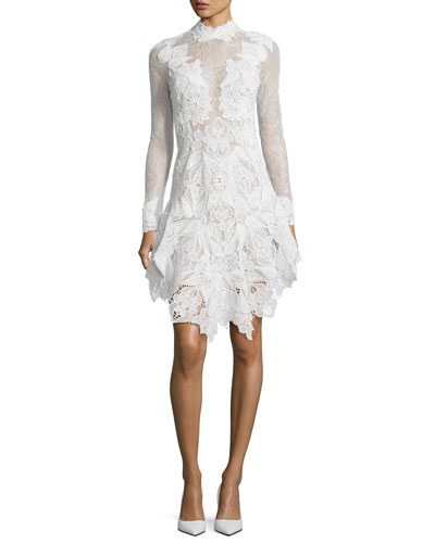 Multimedia Corded Long-Sleeve Lace Dress, White