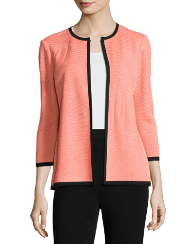 3/4-Sleeve Textured Open Jacket, Tart/Black