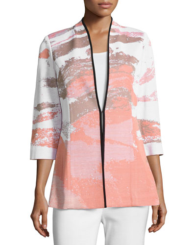 Graphic-Print 3/4-Sleeve Jacket