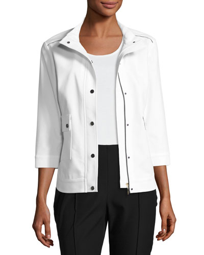 3/4-Sleeve Techno Snap-Front Jacket, White/Black, Plus Size