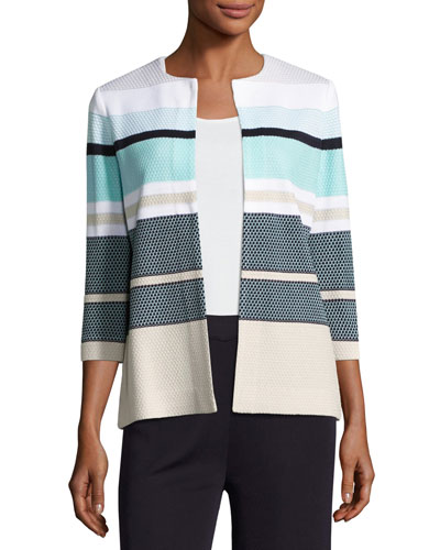 3/4-Sleeve Striped Textured Open Jacket, Multi