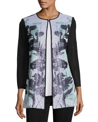 3/4-Sleeve Textured Floral-Print Long Jacket, White/Navy/Sea, Plus Size