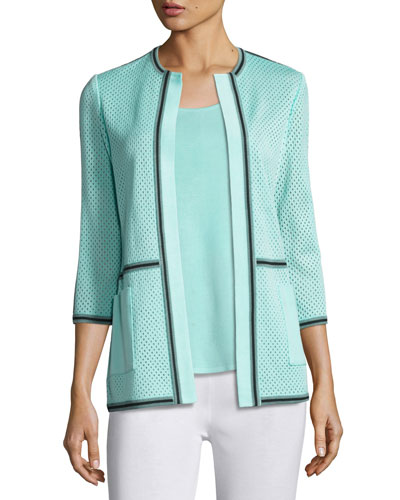 3/4-Sleeve Textured Jacket, Sea/Navy, Plus Size