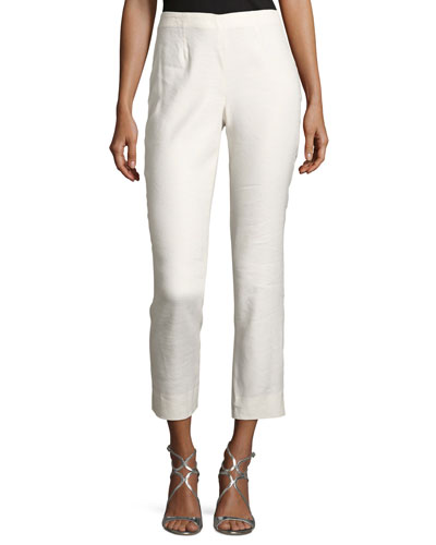 Luxe Cropped Linen Pants, Plus Size