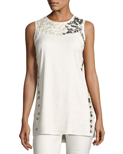 Embellished Linen-Blend Top, Petite