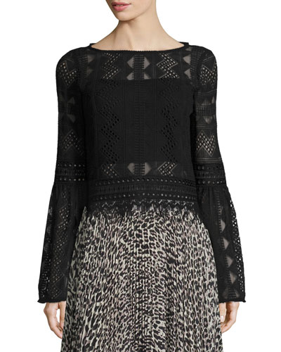 Bell-Sleeve Boxy Patterned Lace Top, Black