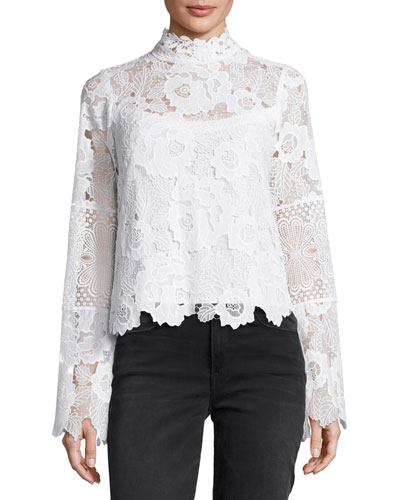 Long-Sleeve Fluid Floral Lace Top, Ivory