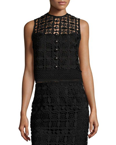 Sleeveless Boxy Lace Top, Black