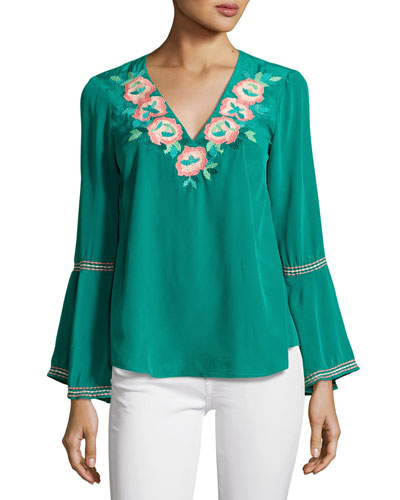 Embroidered Silk Crepe de Chine Top, Jade
