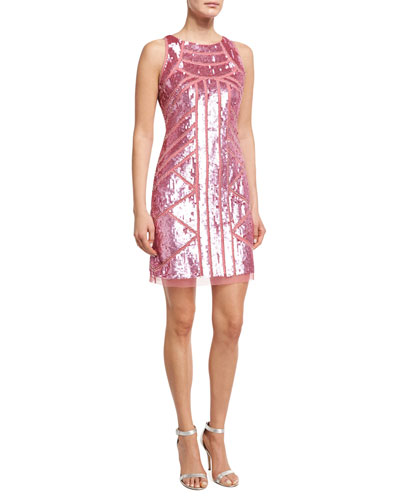 Sleeveless Geometric Sequined Sheath Dress, Pink