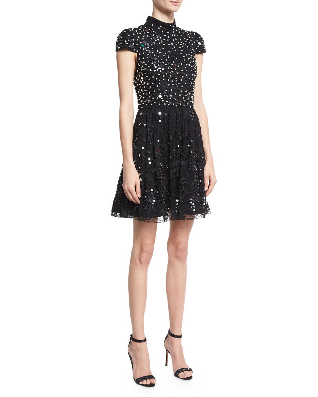 Maureen Cap-Sleeve Embellished Lace Cocktail Dress, Black