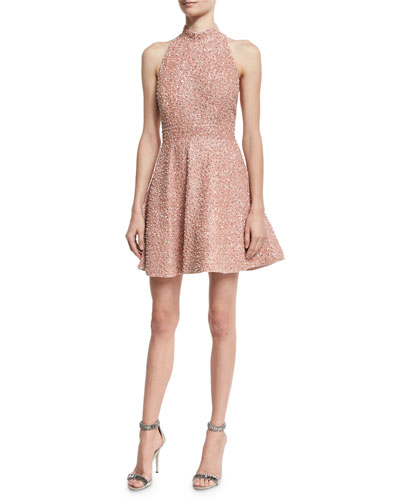 Hollie Sequined Fit-and-Flare Racerback Dress, Pink