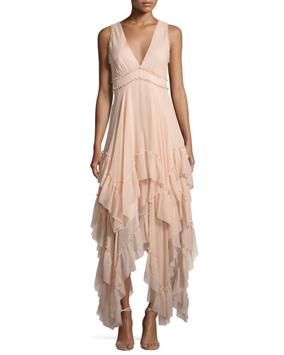 Brynn Sleeveless Silk Tiered Midi Dress, Pink