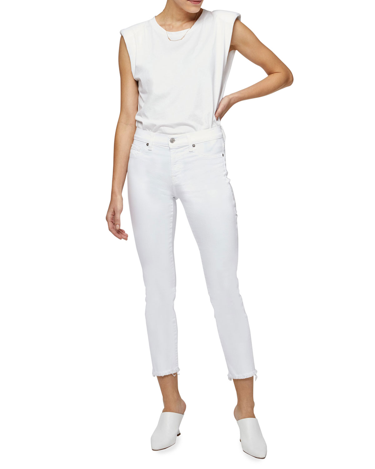 Roxanne Raw-Edge Ankle Skinny Jeans, White