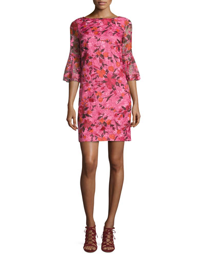 3/4-Sleeve Floral Silk Shift Dress, Pink