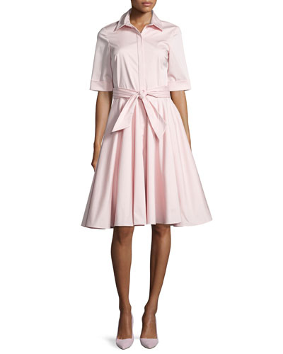 Belted Stretch Poplin Shirtdress, Pink
