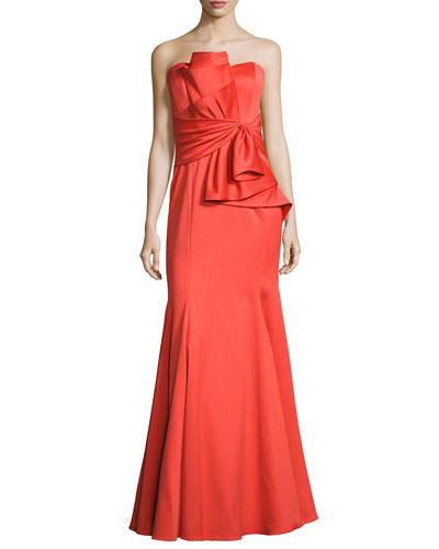 Strapless Sweetheart Cascade Ruffle Gown, Orange
