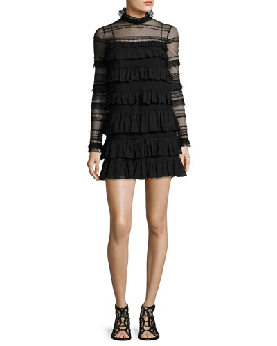 Trevor High-Neck Ruffled Lace Dress, Black
