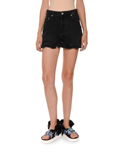 Denim Ruffle Shorts, Black