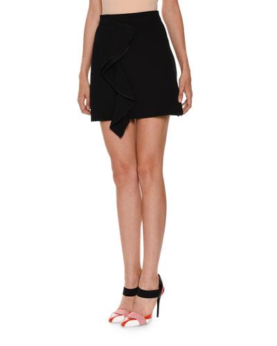 Draped Stretch Crepe Skirt, Black