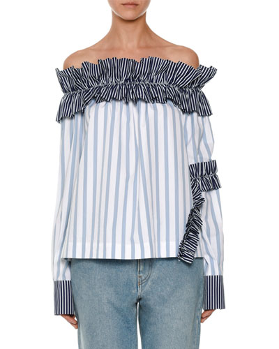 Off-the-Shoulder Striped Shirting Top, Blue
