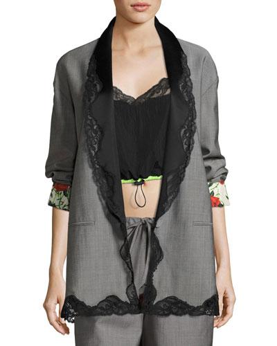 Lace-Trim Single-Breasted Shawl-Collar Blazer, Dove Gray