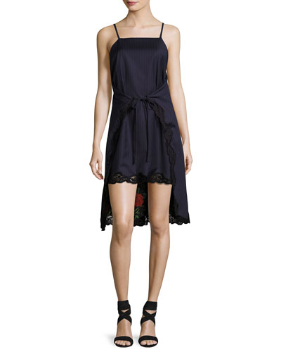 Pinstripe Tie-Front Apron Slip Dress, Navy