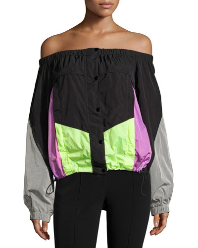 Off-the-Shoulder Colorblock Wind-Resistant Jacket, Nocturnal