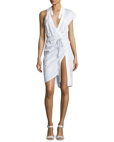 Asymmetric Deconstructed Wrap Shirtdress, Blue/White Stripe