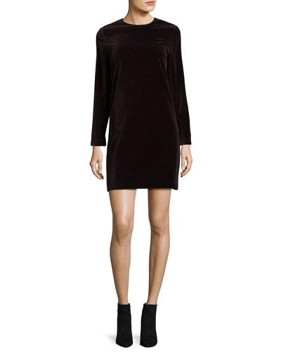 Wynter Stretch-Velvet Shift Dress, Plum