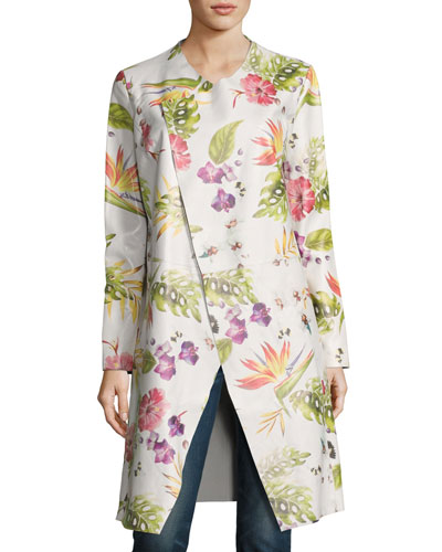 Long Floral-Print Leather Duster Jacket, White