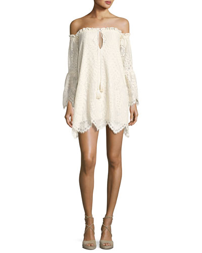 Deidra Off-the-Shoulder Lace Dress, Off White