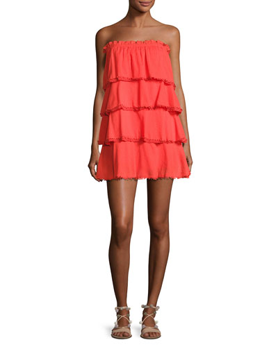 Allaire Strapless Tiered Cotton Gauze Dress, Orange