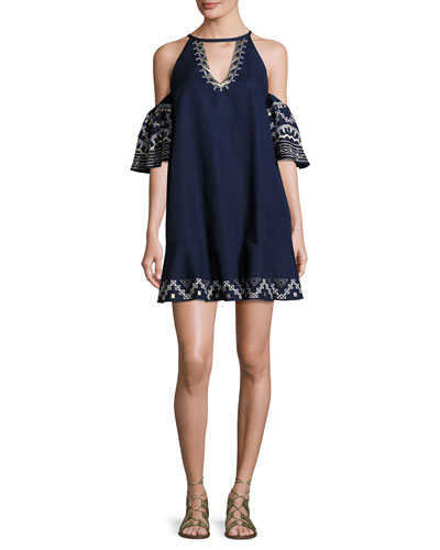 Phoebe Embroidered Cold-Shoulder Mini Dress, Blue