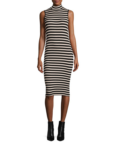 Sleeveless Striped Stretch Jersey Dress