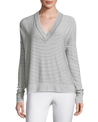 Eased Striped V-Neck Pullover Sweater, White/Black