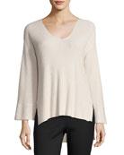 Ribbed V-Neck Pullover Sweater, Blush
