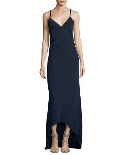 Bredes Scoop-Back Maxi Slip Dress, Blue