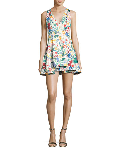 Tanner Asymmetric Floral Cocktail Dress, Multicolor