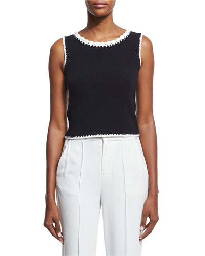 Daniela Macrame-Trim Crop Top, Black/White