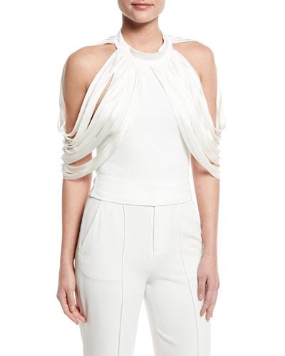 Bree Drape-Shoulder Crop Top, Off White