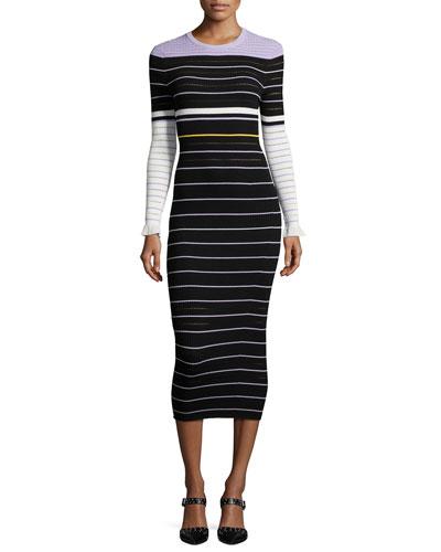 Long-Sleeve Striped Midi Dress, Lavender/Multicolor