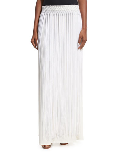Long Fringe Maxi Skirt, White