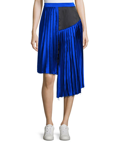 Kaleb Asymmetric Pleated Silk Satin Skirt, Blue