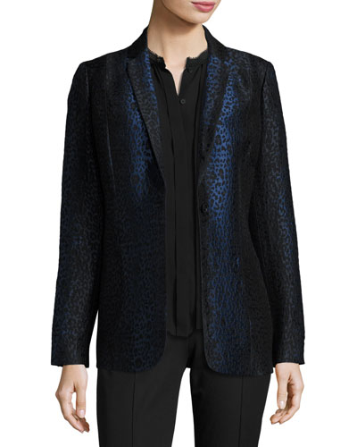 Leopard-Print One-Button Blazer, Black/Blue