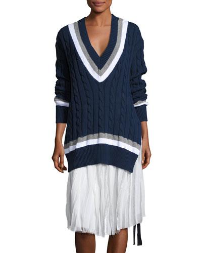 Cora V-Neck Oversized Cable-Knit Sweater, Navy